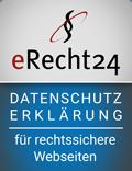 """eRecht24 Siegel """"Datenschutzerklärung - für rechtssichere Webseiten"""""""